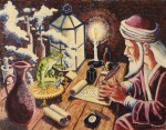 Larry Johnson artist, fantasy painting, The Alchemist's Surprise, mythology