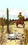 Larry Johnson artist, science fiction illustration, cowboy, robot, desert, fantasy Tales of Fantasy #34
