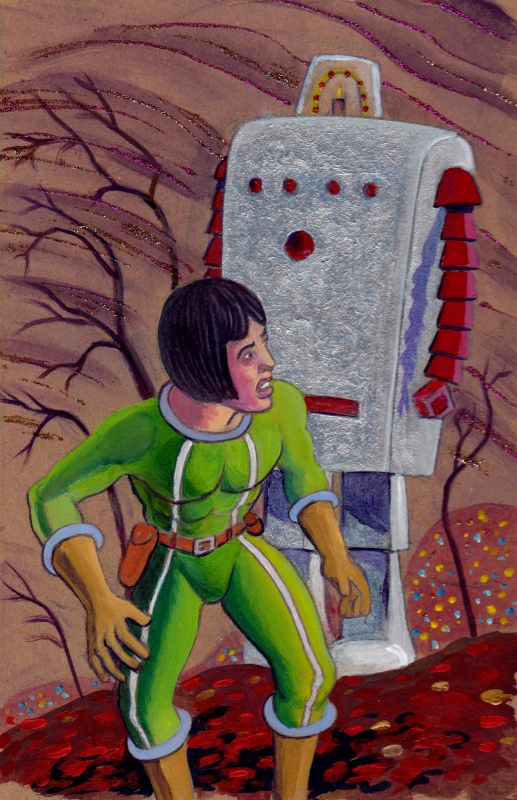 Larry Johnson artist, Jesse Stuart, Devil Girl of Mars, Tales of Fantasy #54, science fiction illustration