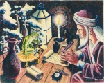 Larry Johnson artists, fantasy painting, oil, alchemist