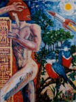Larry Johnson artist, oil painting, mythology, nude, man, fantasy, kingfishers