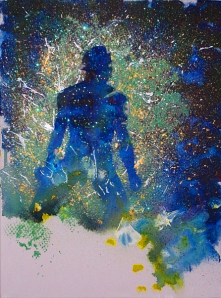 acrylic glitter painting larry johnson space man
